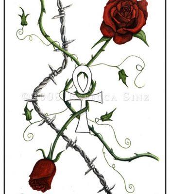 Anhk and Roses Tattoo Design