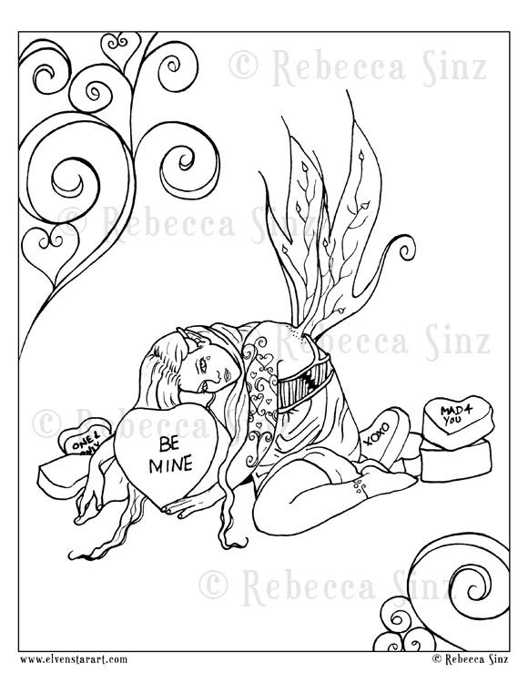 Candy Hearts Coloring Book Page Download