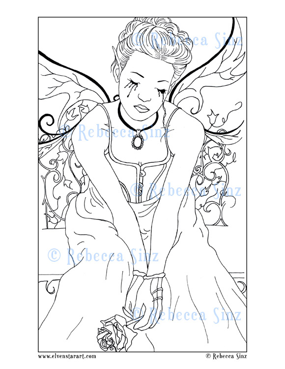 Gothic Lament Fairy Coloring Book Page ElvenstarArt