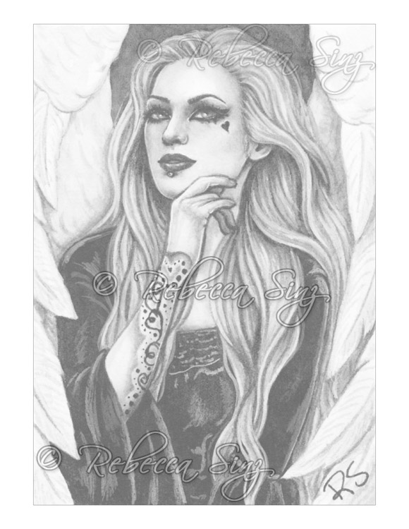 grayscale coloring pages - gothic angels grayscale color book pages elvenstarart