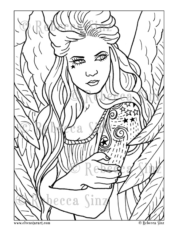 Sky Angel Tattoos Coloring Book Page | ElvenstarArt