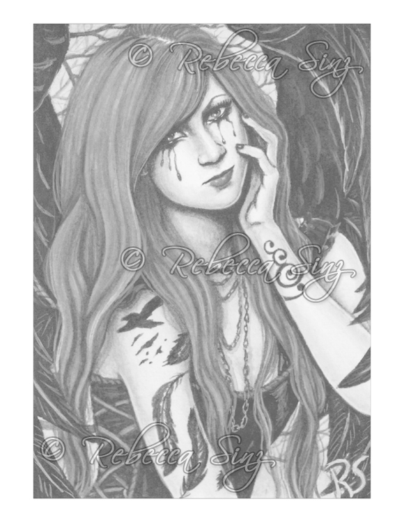 Gothic Angels Grayscale Color Book Pages Elvenstarart