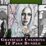 Fantasy Art Grayscale Coloring Book Pages Bundle Download #3