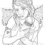 Empty Gothic Angel Coloring Book Page Download