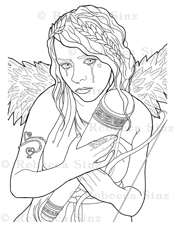 - Gothic Cupid Angel Girl Coloring Book Page ElvenstarArt