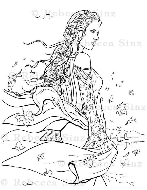 Witch Fantasy Art Coloring Book Page ElvenstarArt