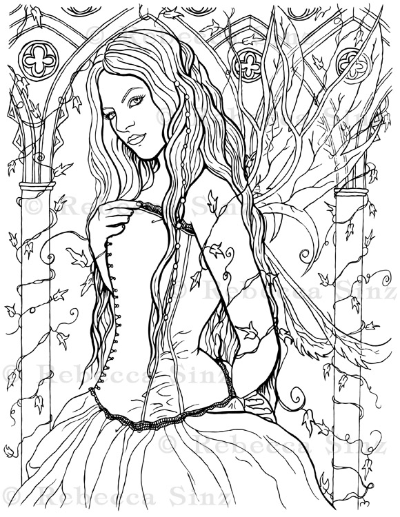 Gothic Fairy Fantasy Art Coloring Book Page ElvenstarArt