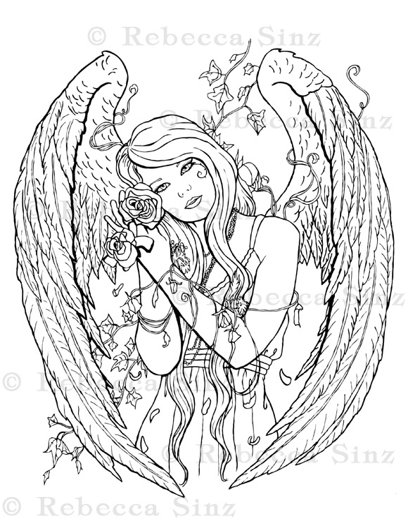 Gothic Angel Fantasy Art Coloring Book Page ElvenstarArt