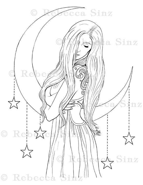 Celestial Goddess Fantasy Coloring Book Page Elvenstarart