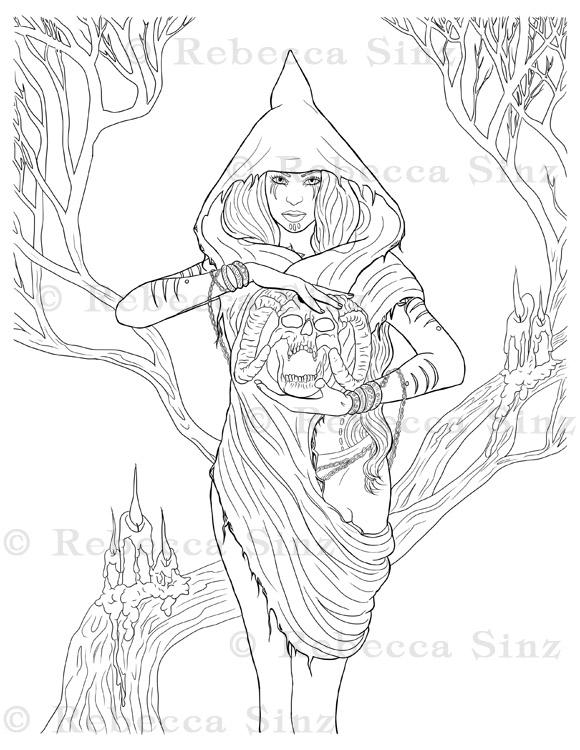 - Druid Skull Gothic Fantasy Coloring Book Page ElvenstarArt