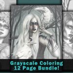 Fantasy Art Grayscale Coloring Book Pages Bundle Download #5