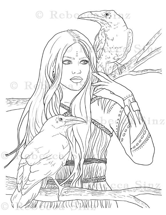 - Ravens Fantasy Art Coloring Book Page ElvenstarArt
